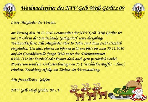nfv gelb-weiß görlitz 09 e.v. - weihnachtsfeier des nfv gelb weiß, Einladung